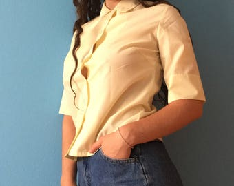 Mellow Yellow Button-Up Collared T-Shirt