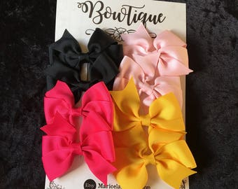 4 sets of 3 inch grosgrain ribbon bows