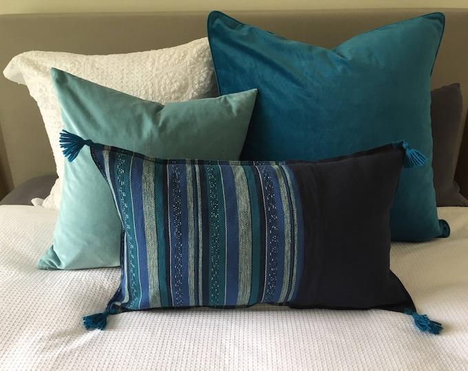 Fair Trade Blue/Teal Stripe Textile + Navy Washed Eco Friendly Linen + Australian Merino Wool Tassel Lumbar Cushion Cover