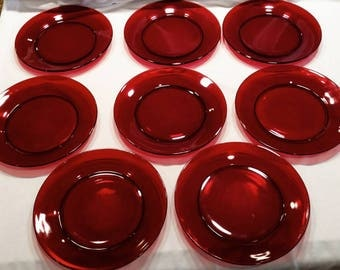 Eight (8) Royal Ruby Dinner Plates by Anchor Hocking