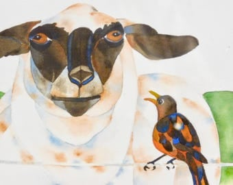 Sheep and bird watercolor painting