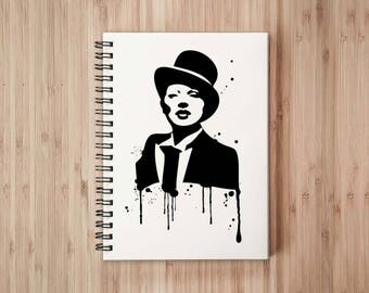 Lady in Top Hat Notebook/Sketchbook Wire Bound - Blank pages