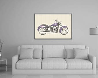 80%OFF Harley Davidson FLSTN Softail de lux, Harley Davidson print, Harley download, Harley wall art, Motorbike Printable, Harley watercolor