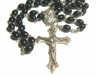 Catholic Rosary, Chaplet for the Dead, Prayer For the Souls of the Dead, Catholic Chaplet, Black Rosary, Wood rosary