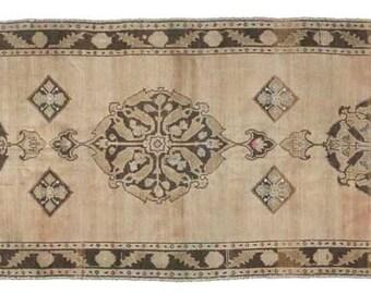 "Vintage Runner Rug, Vintage Sivas, Anatolian Rug, 3'3""x 11'2'' Natural Rug, Turkish Rugs, Decorative Rug, Hand knotted wool rug, traditional"