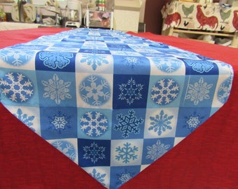 Christmas Runner,  Blue & White  Snowflakes,  6 ft. long