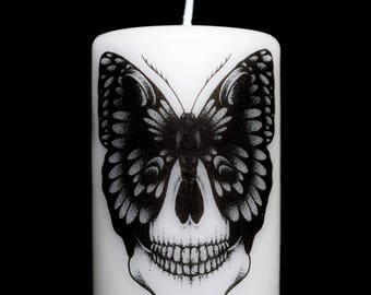 SMALL candle model / skull Butterfly