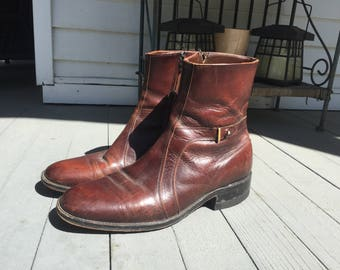 Vintage 1960s 70s Sears Easy Flex Mahogany Brown Leather Side Zip Ankle Boots/ Beatles Boots/ Motorcycle Boots Mens Sz 9.5 D