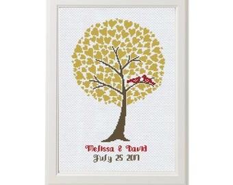 WEDDING cross stitch pattern, custom embroidery for beginners, tree cross stitch kit easy cross stitch wedding sampler, anniversary sampler