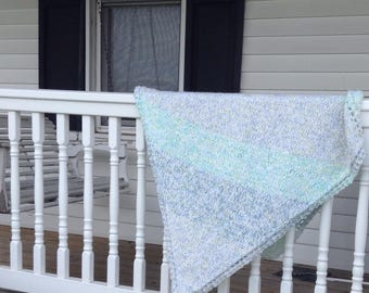Handknit Diamond Shaped Striped Blue Baby Blanket Baby Shower Gift