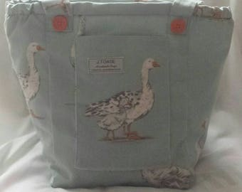 Gorgeous Geese cover this Handmade, Vegan Shoulder Bag.