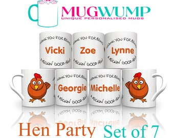 Hen Party Mugs. Hen Party Gifts. Gifts For Hens. Personalised Hen Gifts. Set of 7 Personalised Hen Party Mugs.