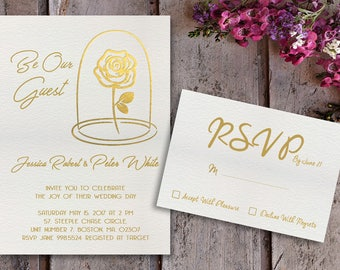 Beauty And The Beast Wedding Invitations   Beauty And The Beast Invitations    Gold Foil Invitations