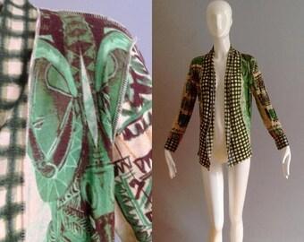 SALE 35% Off Sale Vintage Jean Paul Gaultier Soleil Resort Top ~ Designer Drape Front Vacation Shirt ~ Retro Floral Resort Cover Up ~ Wrap S