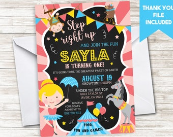 Circus Birthday Invitation Invite Pink Girls First 1st Chalkboard Digital Themed Carnival