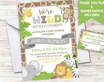 Jungle Baby Shower Invitation Invite Digital Safari Zoo Wild Gender Neutral 5x7 Diaper Raffle Boy Girl