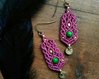 Dark pink earrings with brass beads