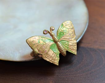 Antique Victorian Gold Green and Purple Enamel Embossed Butterfly Brooch