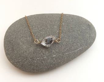 Herkimer Diamond on Delicate Rose Gold Chain