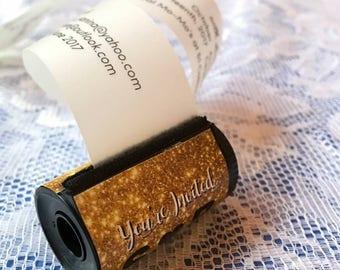 GOLD DESIGN Film canister invites
