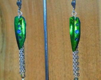E175-Real Beetle Wing Elytra Earring