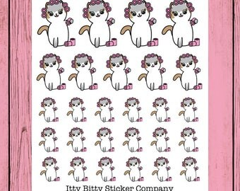 Mauly gets her hair done - Hand Drawn IttyBitty Kitty Collection - Planner Stickers