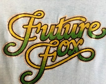 Future Fox Vintage 1970s Bany Blue Green Yellow Glitter Iron On T-Shirt VTG 70s Womens Small Medium Tee Seventies Deadstock Shirt
