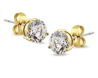 Gold Plated 316L Stainless Steel 2.5mm, 4mm, 5mm, 6mmProng Round CZ Stud Earrings