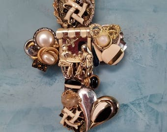 Wall Cross Hand Decorated with Vintage Jewelry / Assemblage / Repurposed / Upcycled Treasures