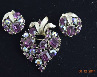 Listner Vintage Signed Brooch and Earrings / Violet / Plum /Purple