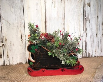 Black and Red Wood Sleigh Christmas Arrangement, Sleigh Winter Arrangement, Christmas Decor, FAAP, Christmas Centerpiece, Holiday Decor