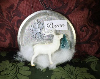 Vintage Tart Tin Ornament Filled with Tiny Bottle Brush Tree, Early Plastic Deer, Snowflake, Glitter and JOY