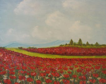 Poppies oil,Poppies painting,Painting poppy,Oil painting,Poppy field oil,Original poppy oil,Poppies canvas,Wall decor,Original gift,Fine Art