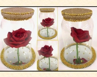 """Handmade """"Beauty and the Beast """" Disney Inspired Glass Dome and Red Rose"""