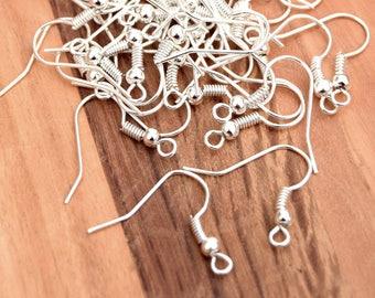 x 1000 hooks earrings silver metal 18mm - earrings metal silver-dangle silver finding hooks