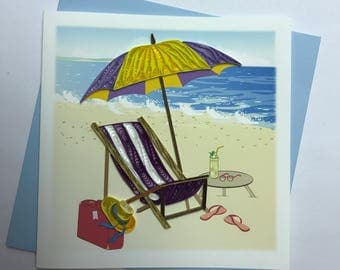 Beach Quilling Greeting Card