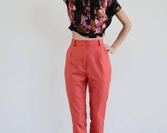 30% OFF High Waisted Pants / Vintage Pants/ Linen Pants/ High Waist Trousers / Vintage Trousers / High Waist Pants/High waisted trousers/