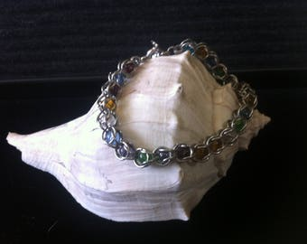 Captured Bead Bracelet made from Stainless Steel and Multi-Colored Glass Beads