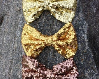 Gold sequin bow, earth tone clip bow, sequin bow, tan clip bow, sequin bows, thanksgiving bow, First birthday bows, Christmas clip bows