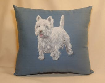 Hand painted WEST HIGHLAND TERRIER, dogs, dog, Westie, white dog, great gift, any room, any age, ooak, elegant, professional looking