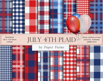 Fourth of July plaid, July 4th, independence day plaid, digital paper, scrapbook paper, backgrounds, tartan, plaid, red white blue, gingham