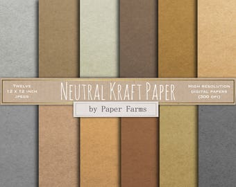 Neutral Kraft paper, kraft digital paper, kraft scrapbook paper, textured paper, kraft paper textures, grey, brown, neutral, DOWNLOAD