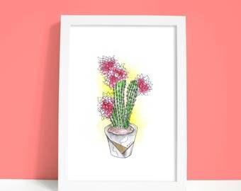 Original Blooming Cactus Flower in Pot Botanical Watercolor Illustration Desert Art
