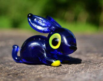 Blue Glass rabbit figurine animals glass blown rabbit sculpture blue glass rabbit toy murano animals tiny small lampwork figure glass rabbit