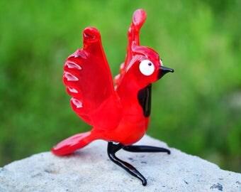 Glass cardinal bird red animals figurine cardinals glass miniature art glass birds sculpture animals tiny small figure murano toy gift art