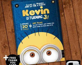 Minions Invitation with FREE Thank You Card - Minions Invite - Minions Birthday Invitation - Minions Birthday Party - Digital File Download