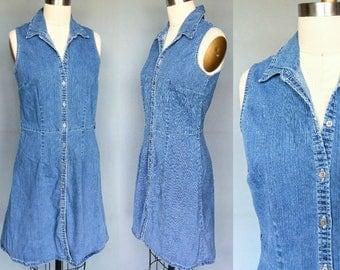plain jane / 90s button down denim dress / 6 8 small