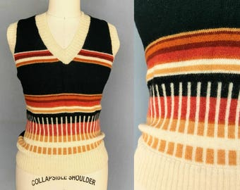 erudite / 1970s wool sweater vest with geometric stripe design / medium