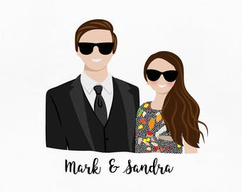 Custom portrait. Gift for couple. First anniversary gift. Paper anniversary gift for her. Wedding gift. Original drawing. Girlfriend gift.