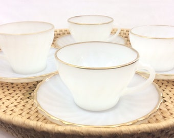 Vintage Fire King White Swirl Gold Rim Coffee Cup and Saucer Sets